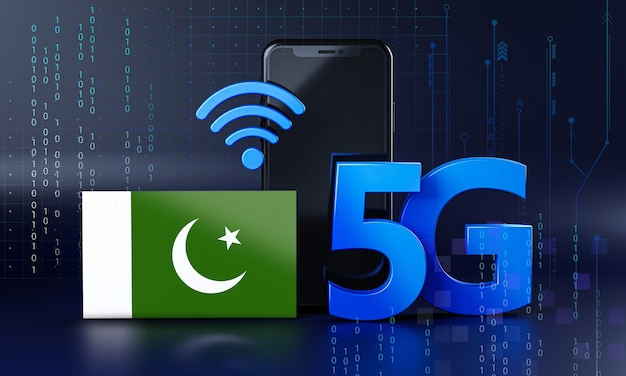 Ready for 5g connection concept. 3d rendering smartphone technology background