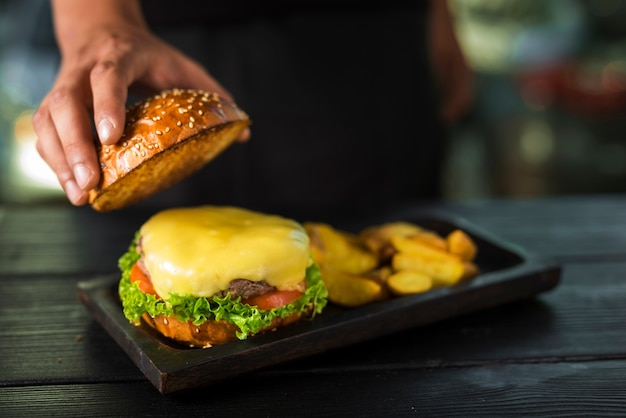 Ready to be served burger with melted cheese