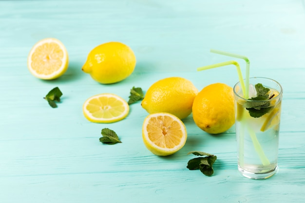 Ready cold citrus mint water and lemons