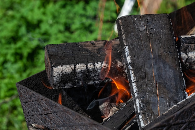 장작 튀김 준비가 화로에서 굽고 있습니다. 고기 요리 준비