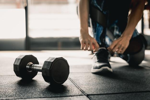 체육관에서 운동을위한 준비
