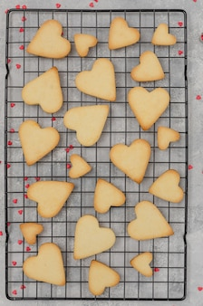 Ready heart-shaped shortbread cookies for valentine's day