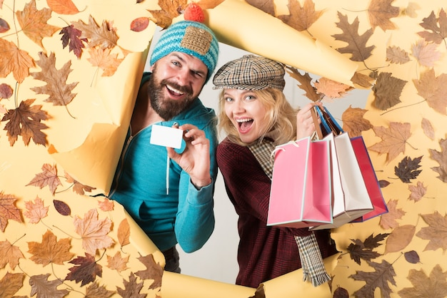 Ready for text hello september happy loving couple leaf fall design autumn sale or black friday autu...