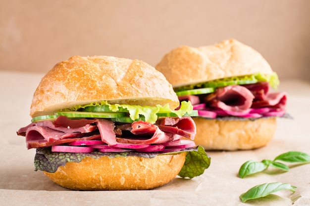 파스트 라미, 오이, 무, 허브를 공예 종이에 담은 바로 먹을 수있는 햄버거. 미국식 패스트 푸드. 확대