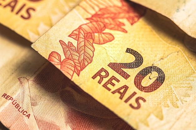 Real brl the brazilian banknotes in close up