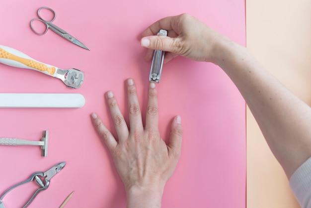 Real cutting nail top view