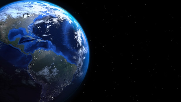 Real earth 3d render background with copyspace