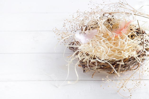 Real empty bird nest on white wooden background, copy space