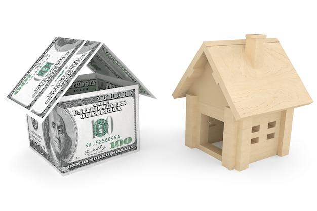 Бизнес-концепция недвижимости. дом банкноты долларов на белом фоне