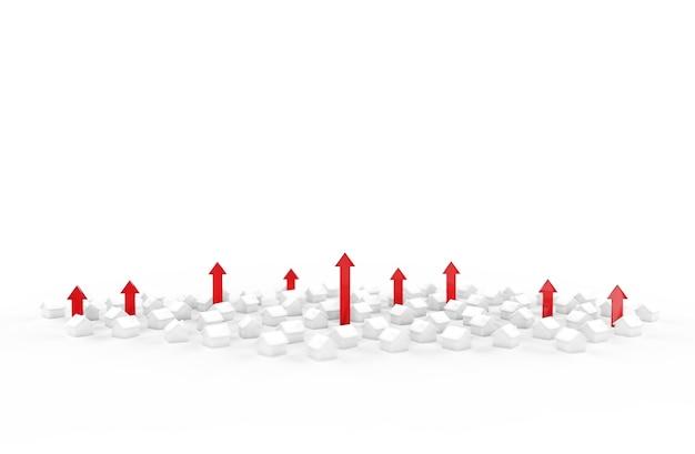 Рост бизнеса в сфере недвижимости со стрелкой. 3d иллюстрации.