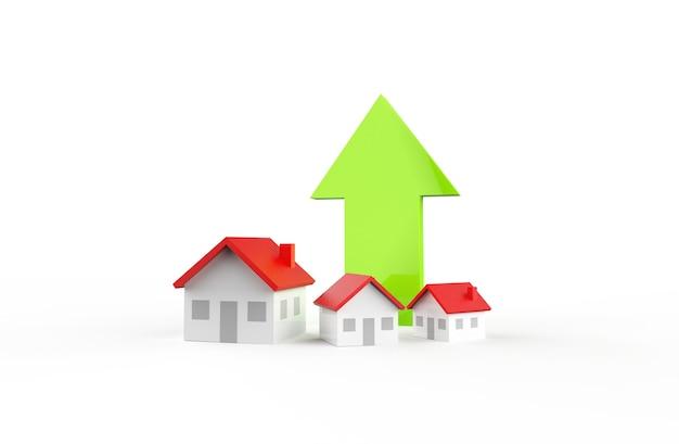Рост бизнеса в сфере недвижимости с зеленой стрелкой. 3d иллюстрации.