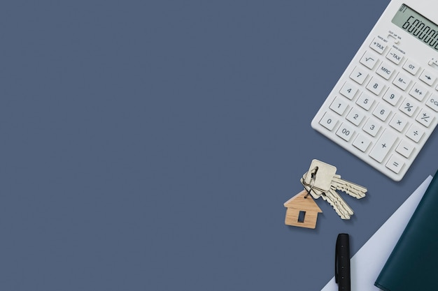 Real estate calculator finance and budgeting concept