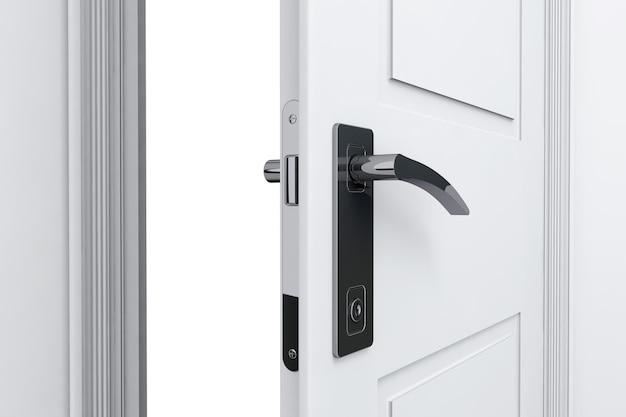 Real estate concept. closeup open door with door handle