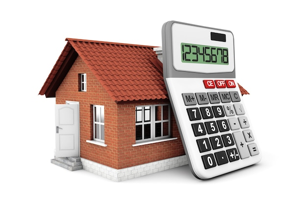 Real estate concept. house with calculator on a white background