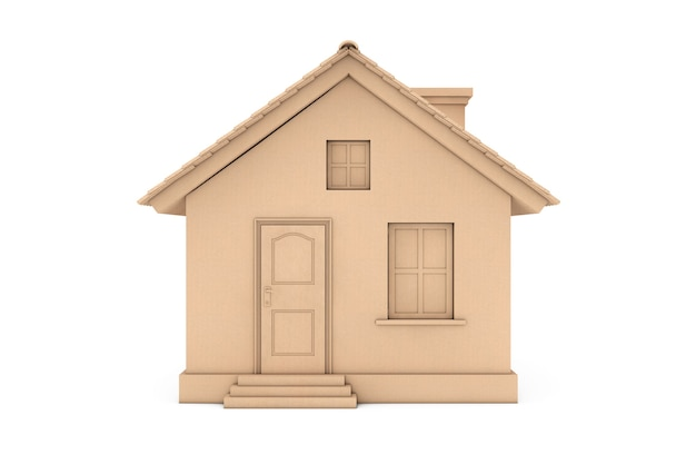 부동산 개념입니다. 흰색 바탕에 골판지 배송 상자로 현대 집 코티지. 3d 렌더링