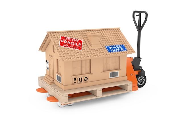 부동산 개념입니다. 흰색 바탕에 핸드 팔레트 트럭 지게차 위에 골판지 배송 상자로 현대 집 코티지. 3d 렌더링
