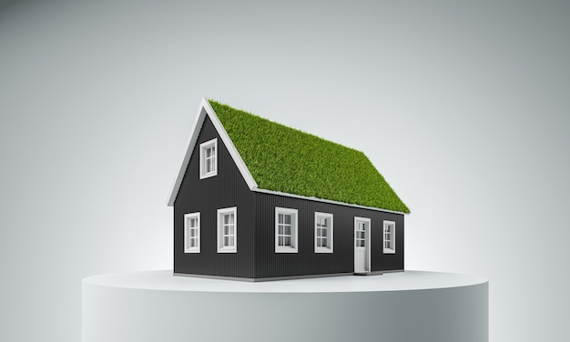 Недвижимость, зеленая энергия, концепция дружелюбного отношения к природе. черный уютный скандинавский дом с травой на крыше на белом подиуме на белом фоне. 3d визуализация иллюстрации