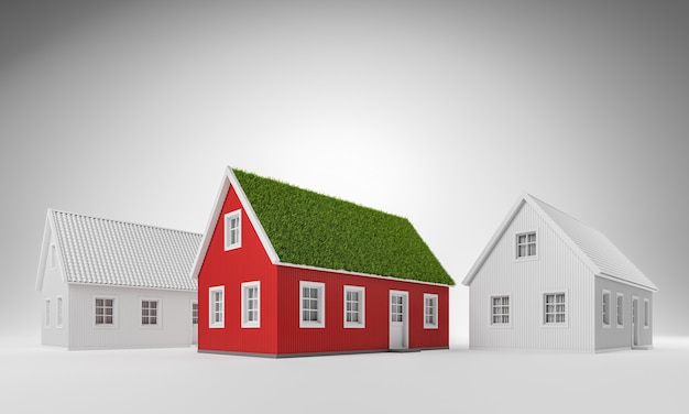 Real estate, green energy, nature friendly concept. red cozy scandinavian house with grass on the roof and two white houses over white background. 3d render illustration.