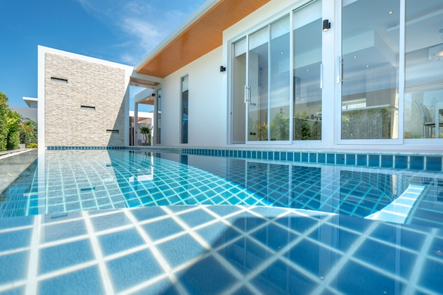 Real estate interior and exterior design swimming pool of the house