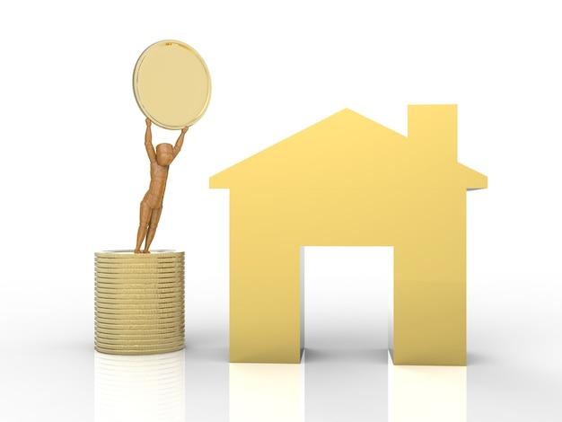金のモックアップハウスと金貨のスタックを持つ不動産投資の概念