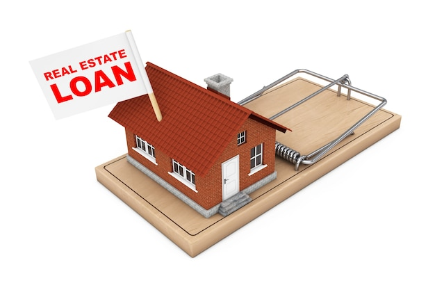 Real estate loan concept. house building with real estate loan flag over wooden mousetrap on a white background. 3d rendering.