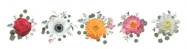 Real floral bouquet design: garden pink peach lavender creamy powder pale rose wax flower.
