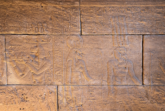 Real hieroglyphic carvings on the walls of an ancient egyptian temple.
