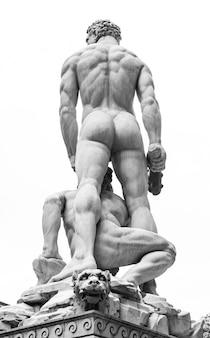 Real man back in piazza della signoria, florence, italy