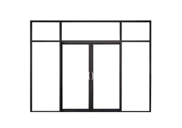진짜 현대 검은 상점 앞 이중 유리 도어 창틀 흰색 배경에 고립