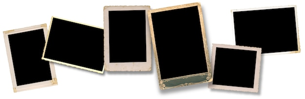 Real six blank old pictures, clipping path for the inside, vintage frame