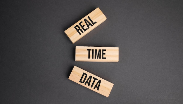 黄色の背景の木製ブロックのリアルタイムデータワード。ビジネス倫理の概念。