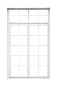 진짜 빈티지 집 창틀 흰색 배경에 고립