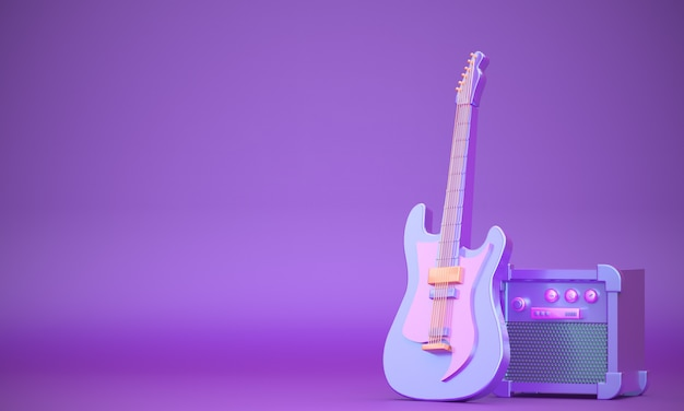 Realistic 3d guitar with sound system