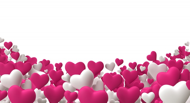 Realistic 3d render colorful pink and white romantic valentine hearts background