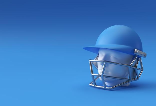 青い背景に分離されたリアルな3dレンダリングクリケットヘルメットモックアップ