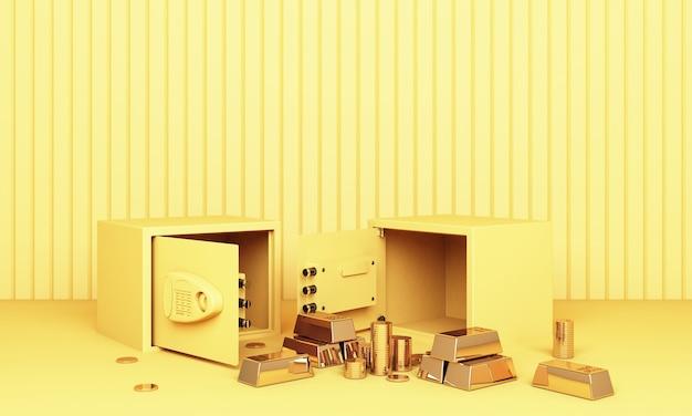 Реалистичная 3d визуализация иллюстрации открытого сейфа с золотыми слитками и монетой в желтых тонах