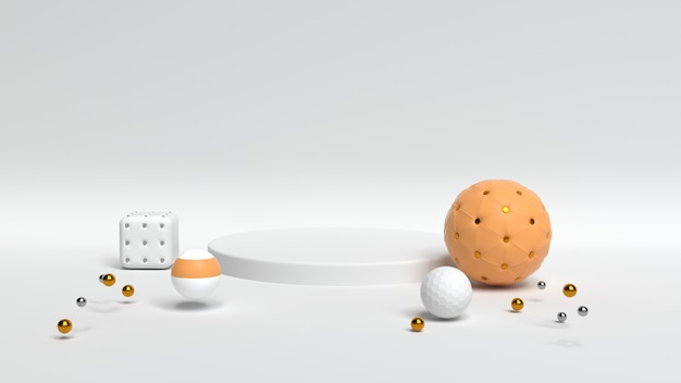 Realistic 3d render of spheres near a stand