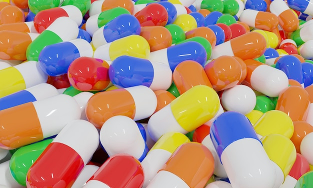 Realistic 3d rendering different colorful medical pills