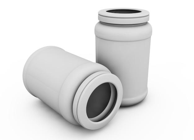 ビタミン、錠剤、またはカプセルの開いたキャップと白い背景の上のプラスチック製の白いカプセルボトルのリアルな3dレンダリング。 3dイラスト