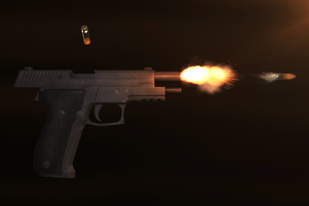 Realistic 3d rendering of a pistol shot and a bullet flight