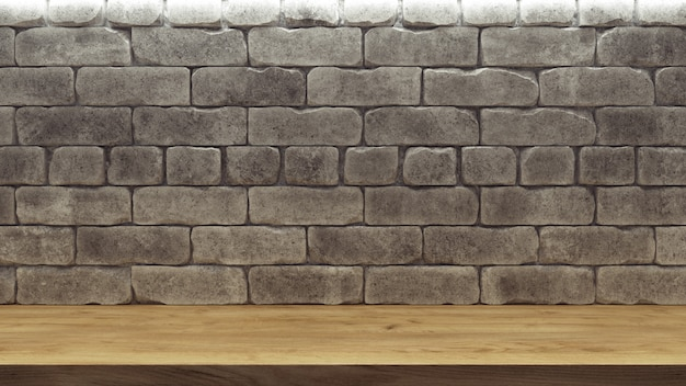 Realistic background with brick wall wooden shelf for decoration design.