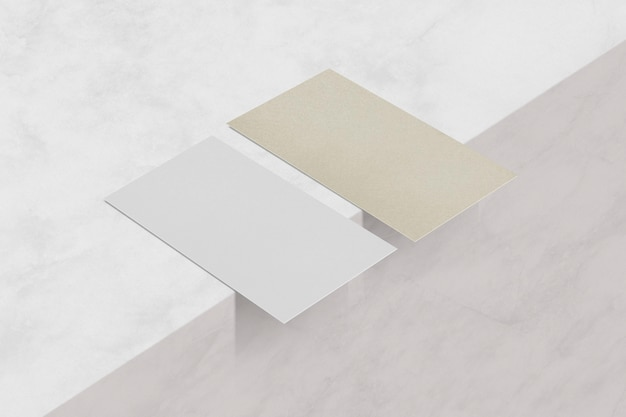 Realistic blank business card sustainability eco industry on marble