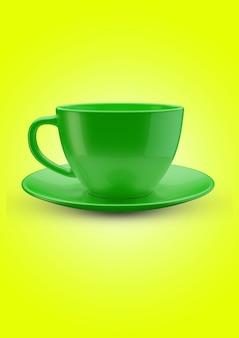 손잡이와 현실적인 빈 커피 또는 차 머그 컵