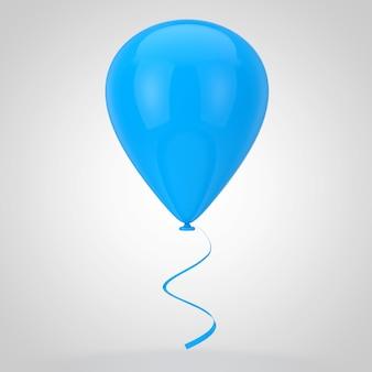白い背景の上の現実的な青い空白のモックアップバルーン。 3dレンダリング