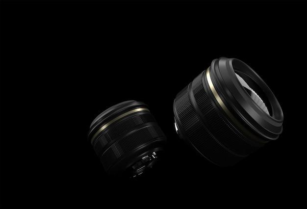 반사 3d 렌더링이 있는 사실적인 카메라 렌즈.