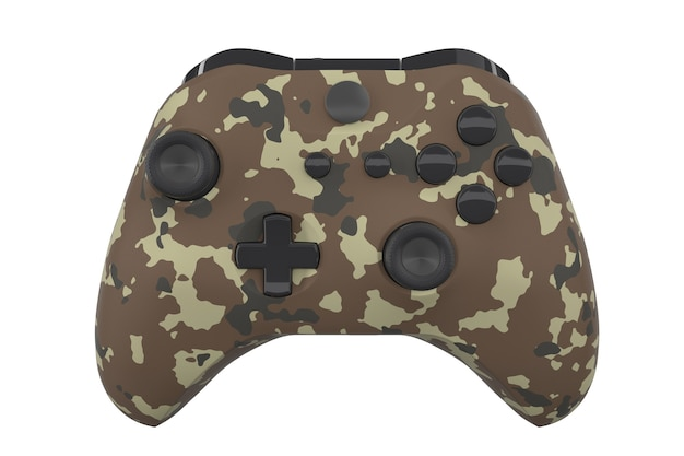 Realistic camouflage video game controller isolated on white with clipping path. 3d rendering streaming gear and cloud gaming concept