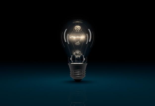 暗い青色の背景にリアルな cgi 光る電球