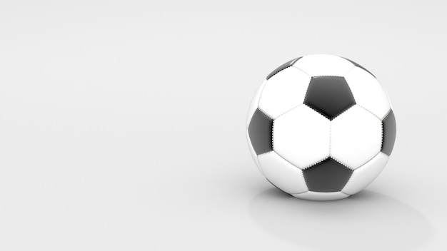 Realistic classic leather soccer ball on white background