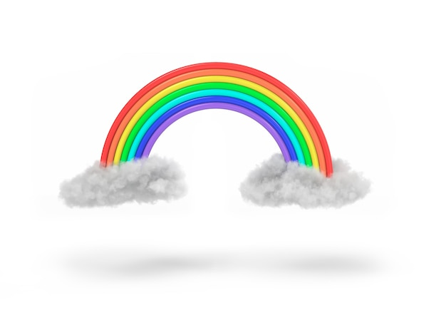 Realistic clouds and rainbow icon isolated on white background. 3d illustration