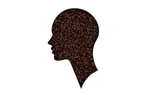 Реалистичные кофейные зерна, человеческая голова 3d визуализации